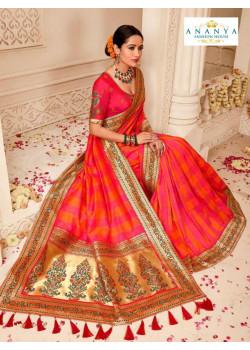 Incredible Multicolor Banarasi Silk Saree with Magenta Blouse