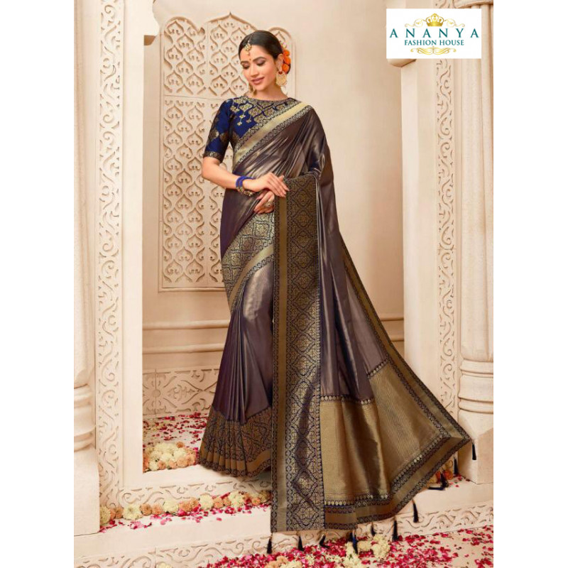 Magnificient Metallic Purple Banarasi Silk Saree with Dark Blue Blouse
