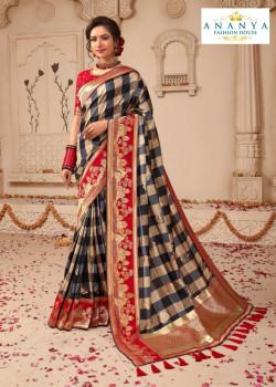 Plushy Multicolor Banarasi Silk Saree with Red Blouse