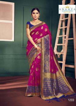 Adorable Magenta Silk Saree with Dark Blue Blouse