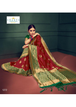 Trendy Maroon Silk Saree with Dark Green   Blouse