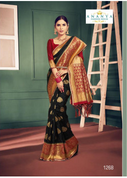 Classic Black Silk Saree with Maroon Blouse
