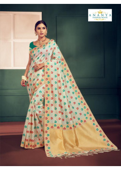 Flamboyant Whiite Silk Saree with Rama Green Blouse