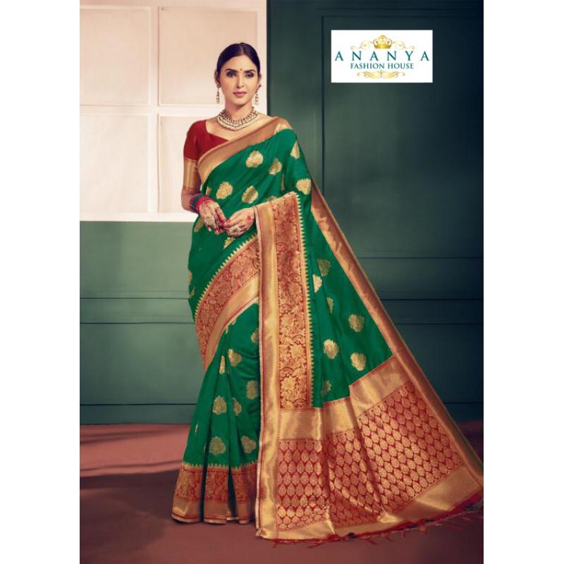 Luscious Rama Green Silk Saree with Maroon Blouse