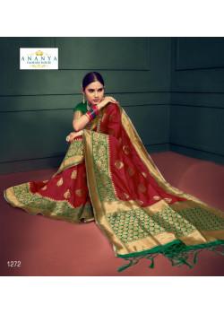 Trendy Maroon Silk Saree with Dark Green   Blouse