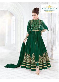 Trendy Bottle Green Georgette- Crape Salwar kameez