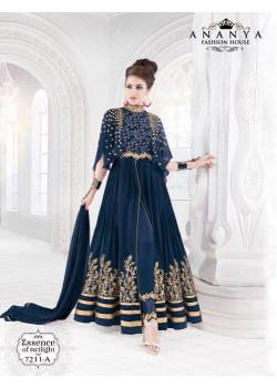 Flamboyant Dark Blue Georgette- Crape Salwar kameez