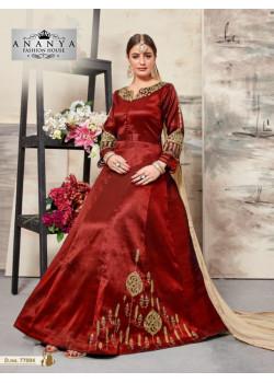 Gorgeous Maroon Silk Salwar kameez