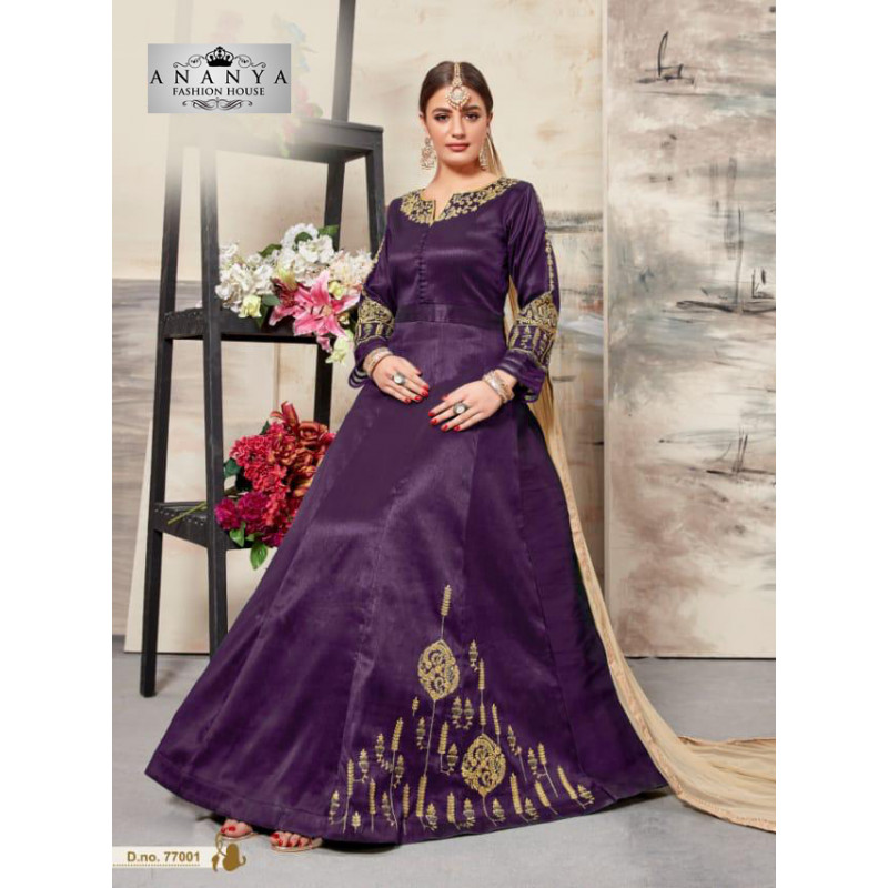 Charming Purple Silk Salwar kameez