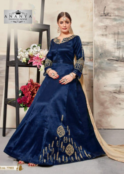 Divine Dark Blue Silk Salwar kameez
