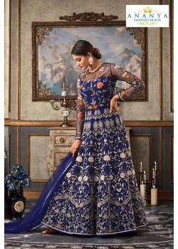 Incredible Royal Blue Net- Raw Silk Salwar kameez