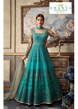Plushy Blue Net- Raw Silk Salwar kameez