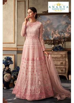 Classic Light Pink Net- Raw Silk Salwar kameez