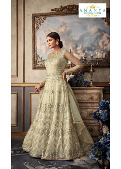 Enigmatic Off White Net- Raw Silk Salwar kameez