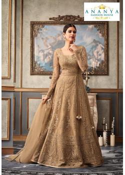 Flamboyant Beige Net- Raw Silk Salwar kameez