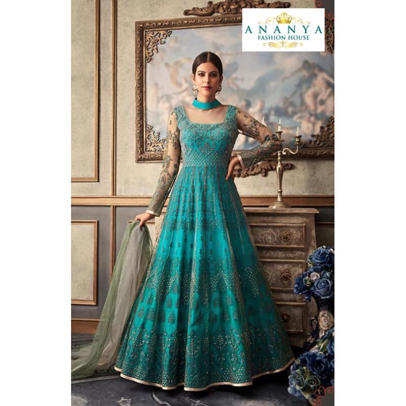 Plushy Blue Net- Raw Silk Salwar kameez