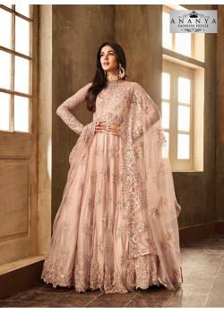 Melodic Pastel Pink Net- Satin Salwar kameez