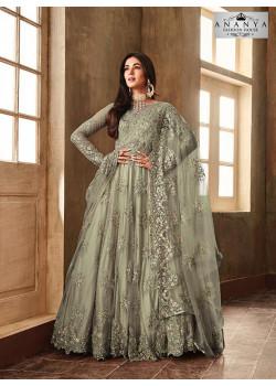 Trendy Grey Net- Satin Salwar kameez