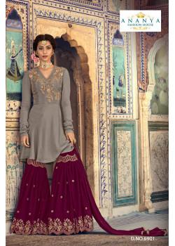 Charming Grey Georgette- Santoon   Salwar kameez