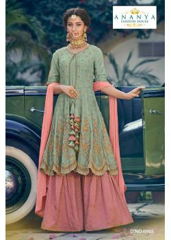 Exotic Pastel Green Georgette- Santoon   Salwar kameez