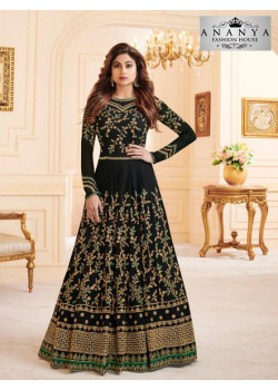 Plushy Black Georgette- Dull Santoon Salwar kameez