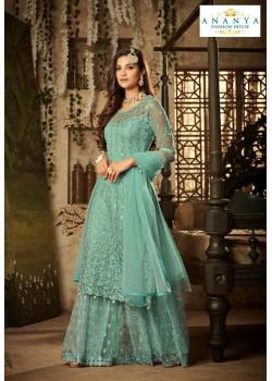 Luscious Light Blue Net- Santoon Salwar kameez