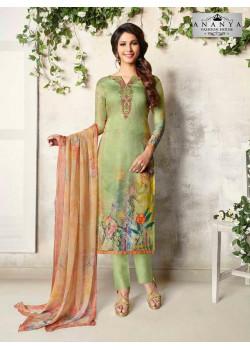 Incredible Pista Green Cotton Satin Salwar kameez