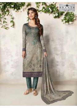 Plushy Grey Cotton Satin Salwar kameez