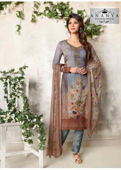 Charming Grey Cotton Satin Salwar kameez