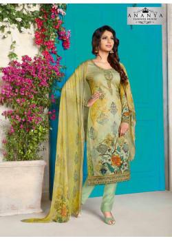 Dazzling Light Green Cotton Satin Salwar kameez