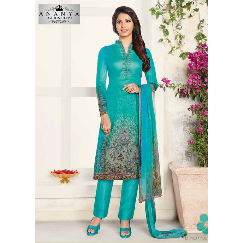 Divine Blue Cotton Satin Salwar kameez