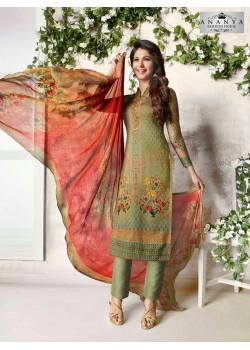 Enigmatic Olive Green Cotton Satin Salwar kameez