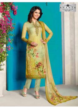Exotic Lemon Yellow Cotton Satin Salwar kameez