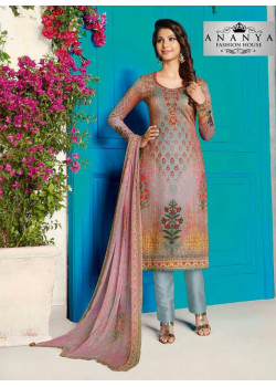 Magnificient Light Purple Cotton Satin Salwar kameez