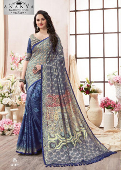 Charming Blue- Silver Kanjeevaram Silk Saree with Multicolor Blouse