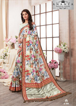 Adorable Whiite Kanjeevaram Silk Saree with White Blouse