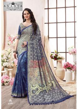 Charming Blue- Silver Kanjeevaram Silk Saree with Multicolor Blouse