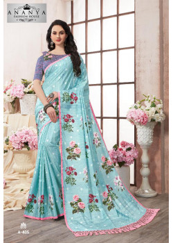 Classic Light Blue Kanjeevaram Silk Saree with Multicolor Blouse