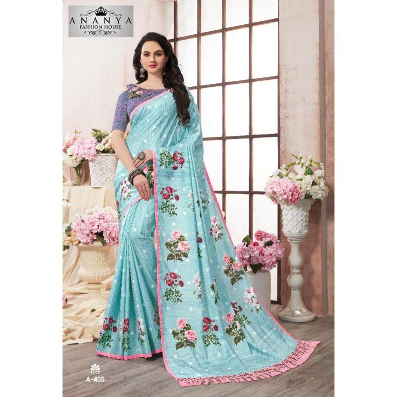 Classic Light Blue Kanjeevaram Silk Saree with Multicolor Blouse