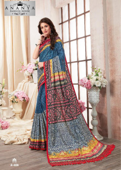 Luscious Multicolor Kanjeevaram Silk Saree with Multicolor Blouse