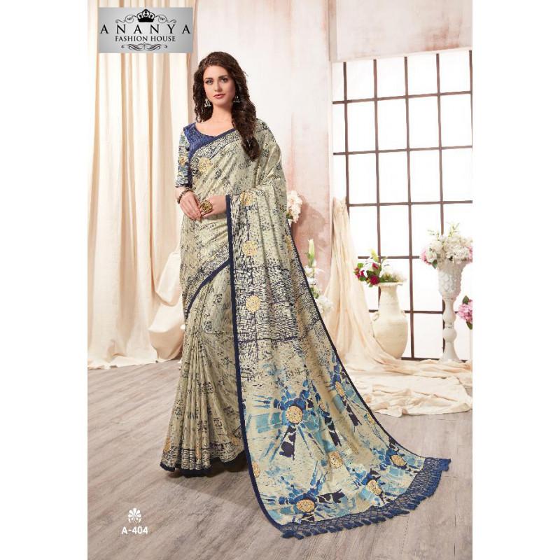 Melodic Multicolor Kanjeevaram Silk Saree with Blue Blouse