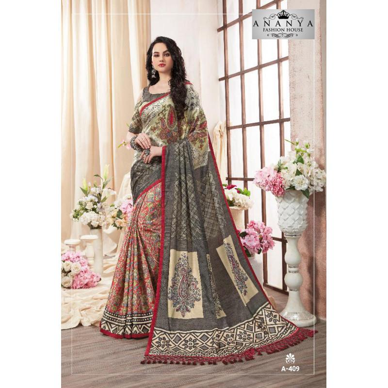 Trendy Multicolor Kanjeevaram Silk Saree with Multicolor Blouse
