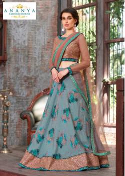 Enigmatic Pastel Blue color Silk Designer Lehenga