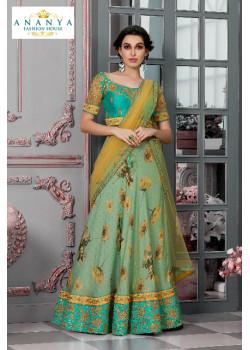 Adorable Pastel Green color Silk Designer Lehenga