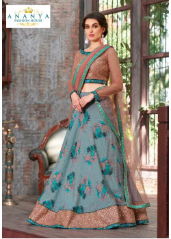 Enigmatic Pastel Blue color Silk Designer Lehenga