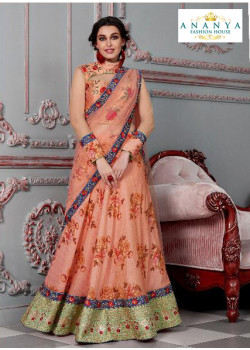 Flamboyant Peach color Silk Designer Lehenga