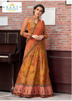 Plushy Dull Mustard color Silk Designer Lehenga