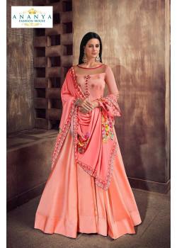 Classic Peach Taffeta Silk- Satin Salwar kameez