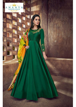 Adorable Bottle Green Taffeta Silk- Satin Salwar kameez