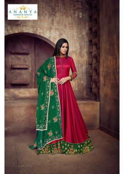 Flamboyant Magenta Taffeta Silk- Satin Salwar kameez